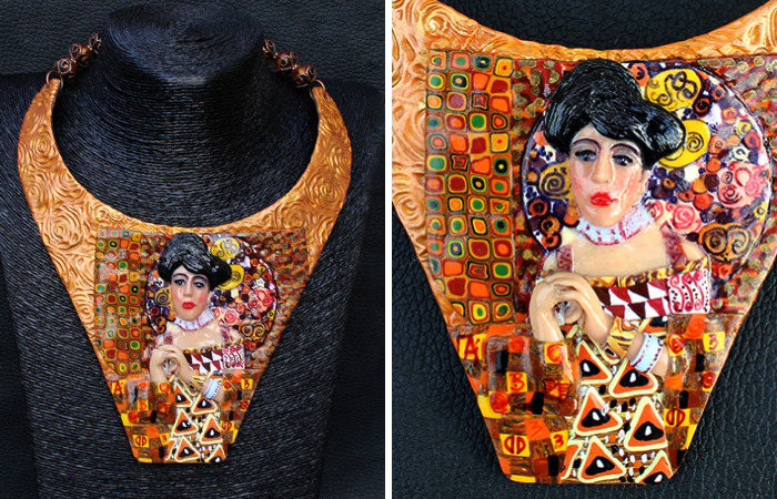 The Lady In Gold Necklace By Art Of Gustav Klimt