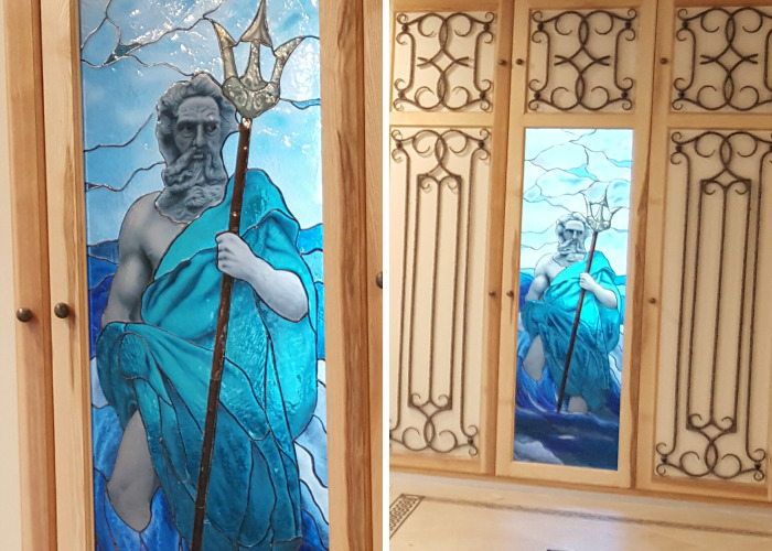 Thoughtful Poseidon: My Stained Glass Mural