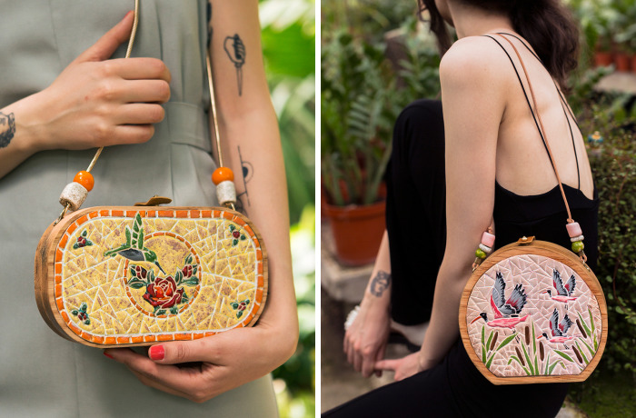 I'm Reconnecting With Nature By Creating Wood And Ceramic Mosaic Bags