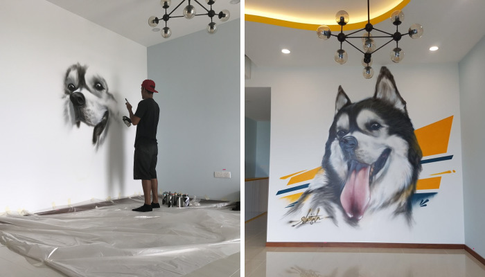 We Had Our Siberian Husky Painted On Our Walls So That He Would Always Stay In Our Hearts