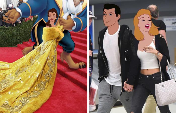 Este artista photoshopea a personajes Disney en las fotos de celebridades