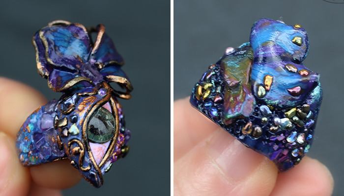 I Create Art Rings From Polymer Clay Decorated With Precious Stones And Pearls