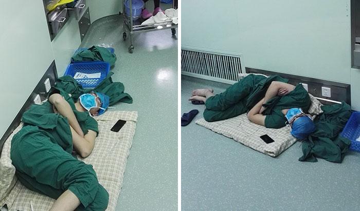 Pillan a este cirujano dormido en el suelo tras un duro turno de 28 horas, y las fotos se están volviendo virales