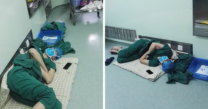 Surgeon Caught Asleep On The Floor After Epic 28 Hour Shift And