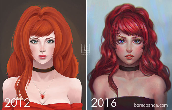 Progresando a un estilo semi-realista, por Abigail Diaz
