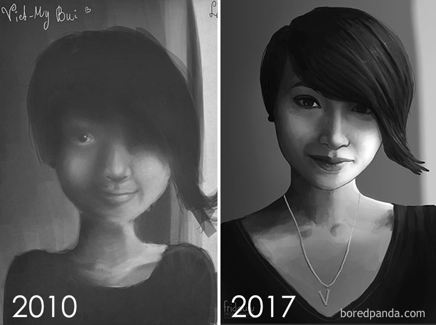 Redraw Of A Portrait After 7 Years By Frida Lundqvist