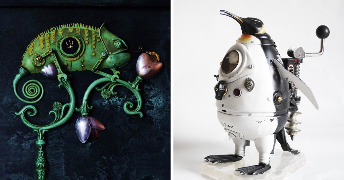 Esculturas de Steampunk que creo de basura