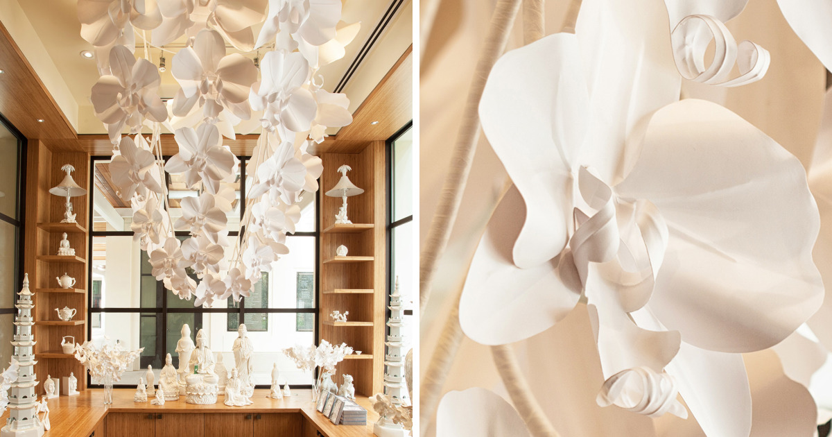This Giant 7ft Long Orchid Chandelier Is Handmade Out Of Paper