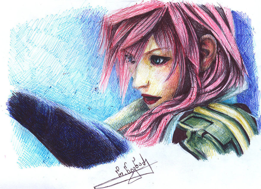 I Draw Using 10 Colored Ballpoint Pens