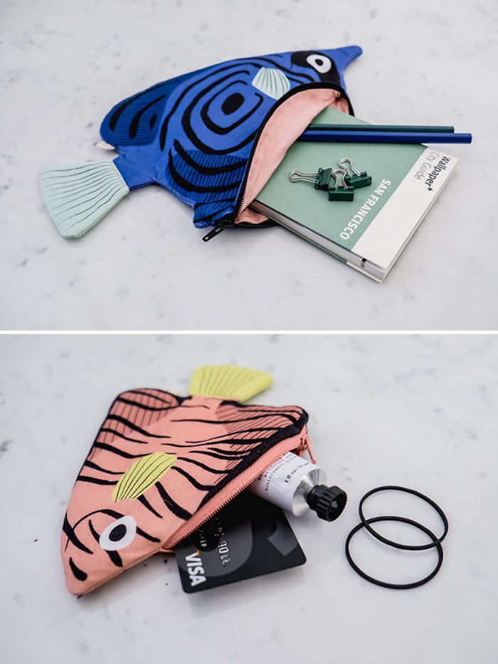 Blue Butterfly And Pink Batfish Purses