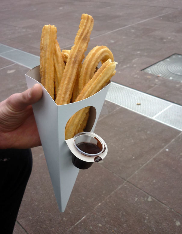 This Churros Cone Has A Dippable Chocolate Sauce Container