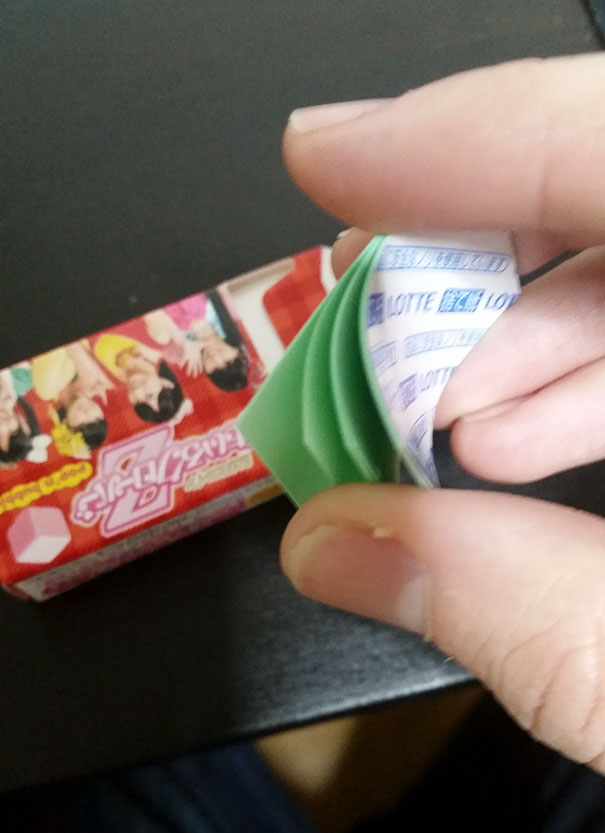 This Japanese Pack Of Gum Came With A Set Of Post-It-Note-Like Papers To Throw My Gum Away In