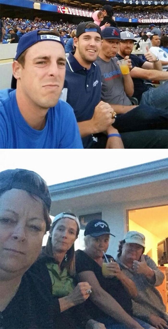 Nuestras madres nos copiaron el selfie que nos hicimos en el partido