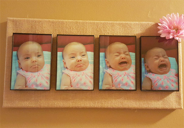 My Mom Made This For My Wife For Her Birthday. It's The Evolution Of My Daughter's Temper Tantrum