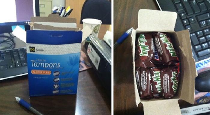 Mi esposa ha encontrado dónde esconder sus chocolatinas