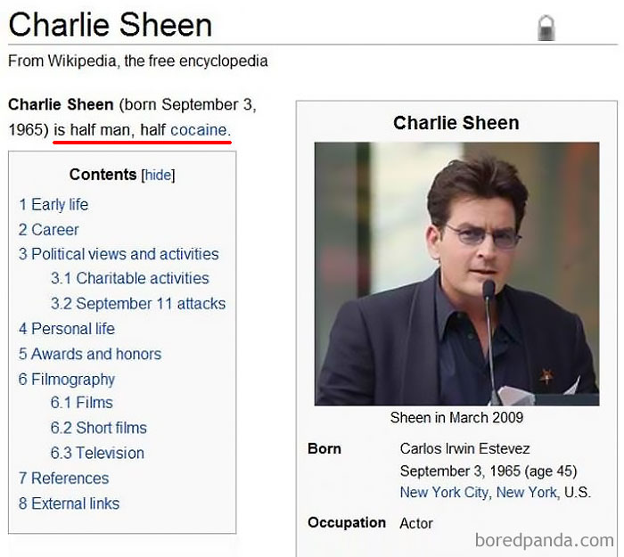 Funny Meme Edits : Of the funniest wikipedia edits by internet vandals