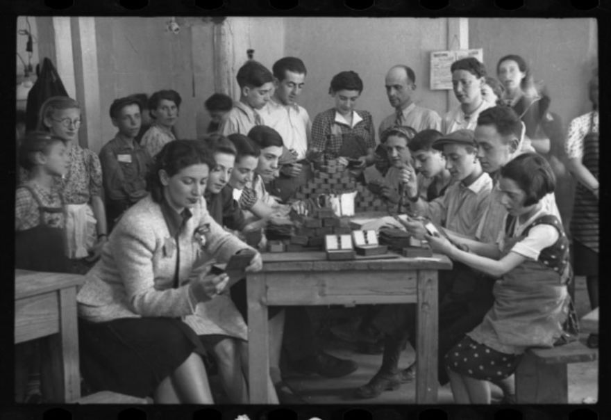 "1940-1944: Young Girls And Boys Working In A Workshop (""Ressort"") In The Ghetto"