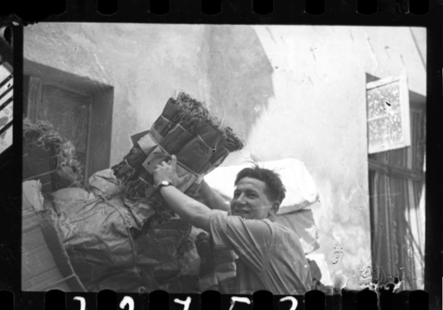 1940-1944: Male Factory Worker Unloading Mattress Springs