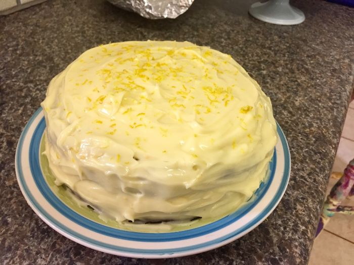 Carrot & Banana Cake With Lemon Cream Cheese Frosting.