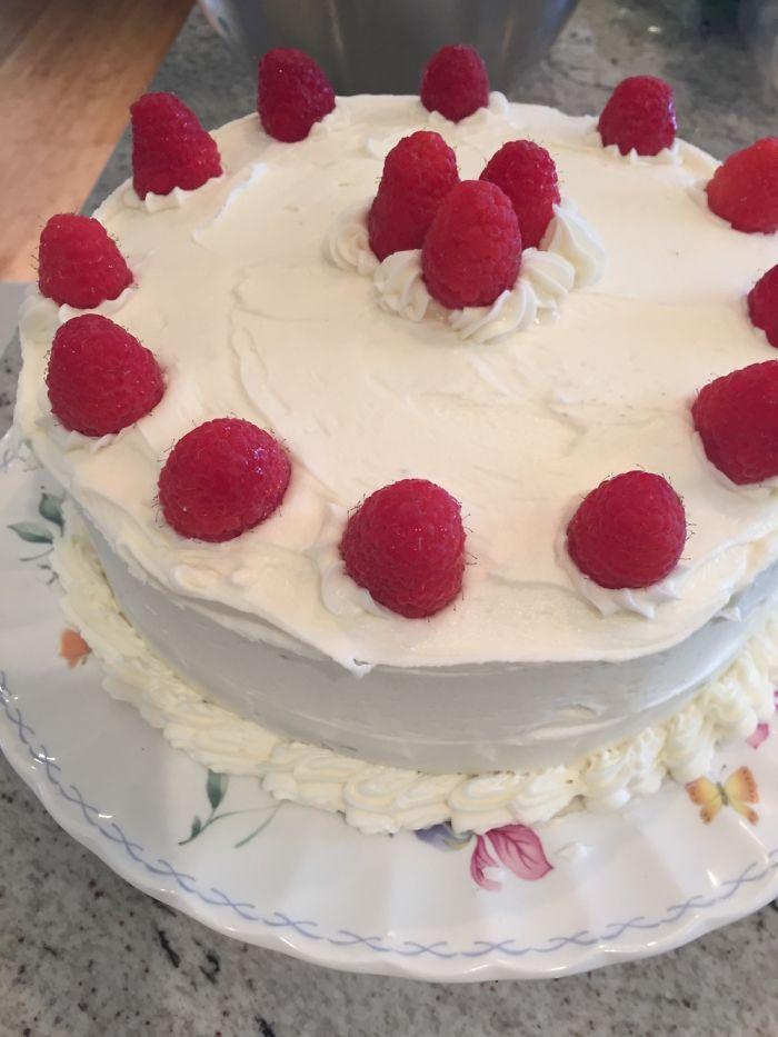 Best Friends Birthday Cake. Dark Chocolate Cake, Raspberry Center, White Chocolate Buttercream
