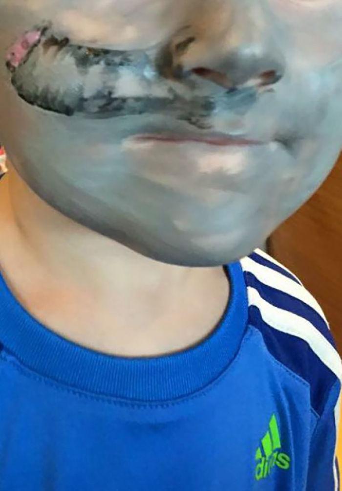 Mi hijo pidió ser un elefante a los pintores de caras