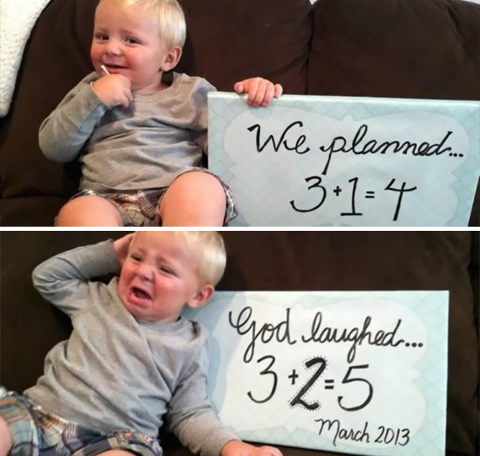 He Just Found Out He'll Be Having Two Siblings Instead Of One