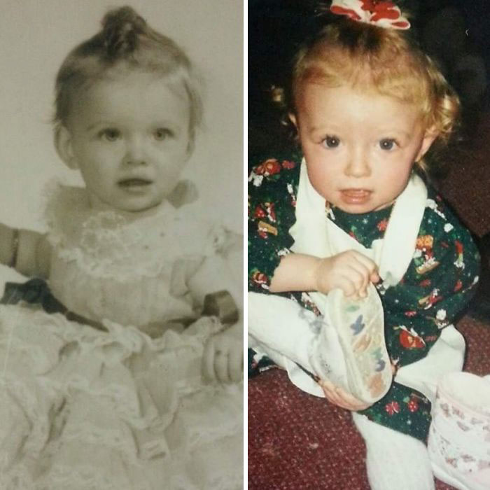 My Mom And Me At Around 1 Year Old (1957 & 1995)