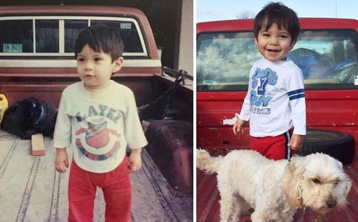 On The Left - My Husband In 1992 On His Parents Truck. On The Right - Our Son And Our Truck