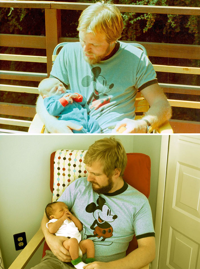 My Dad At 29, Me At 2 Weeks (My Dad's First). Me At 29, My Boy At 2 Weeks (My First)
