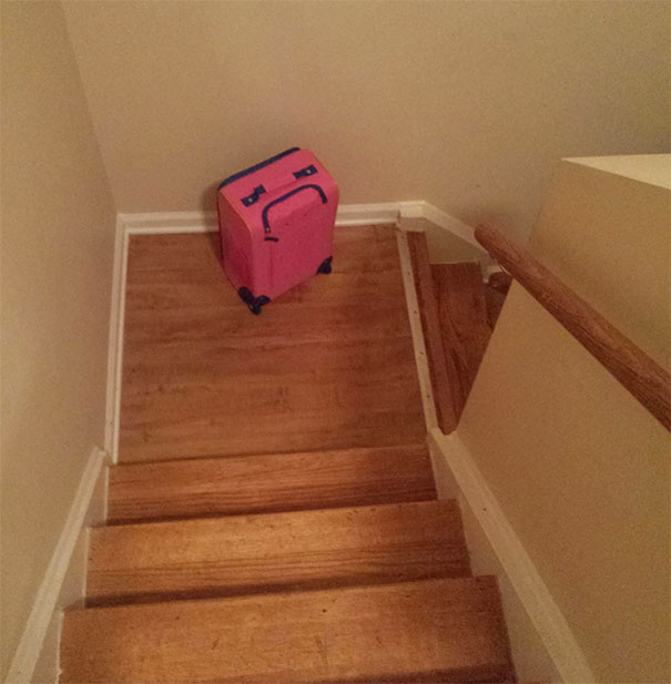 My Daughter's Suitcase Looks Really Upset That It Was Left On The Stairs
