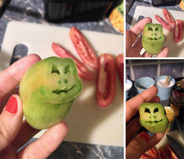Green Tomato With Smiling Monkey Face Inside