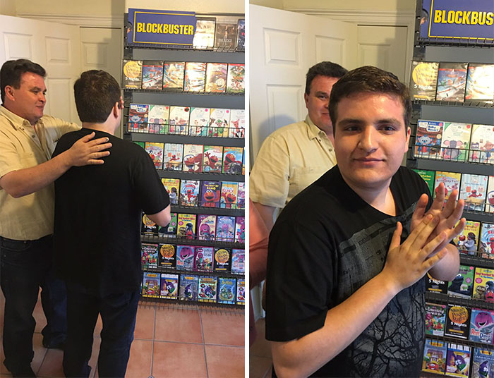 Autistic Boy Was Depressed After Local Blockbuster Closed Down, So His Parents Recreated It At Home