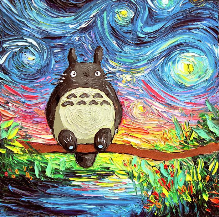 """Una pintura de esta artista fue confundida con un Van Gogh, así que ahora pinta ingeniosas variantes de """"Noche estrellada"""""""