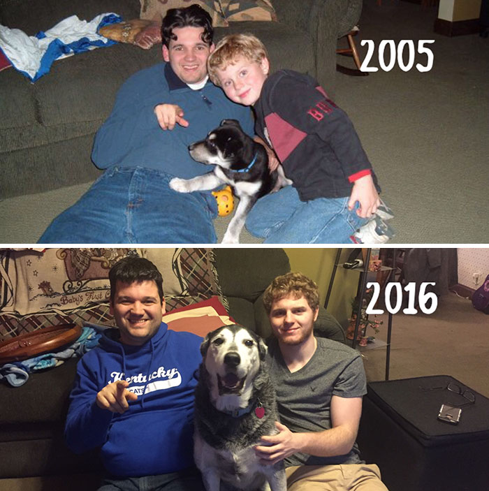 Re-took This Picture On Nye With My Little Brother And His Dog, 11 Years Later