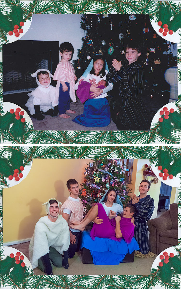 We Took The Same Christmas Photo 18 Years Later! I'm The Lamb