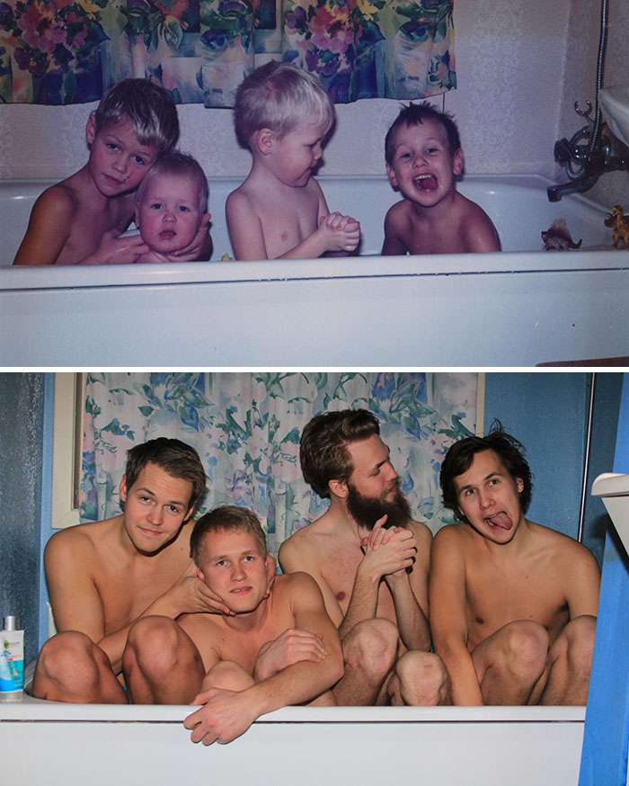 A Childhood Recreation Pic Of Me, My Brother And Two Cousins
