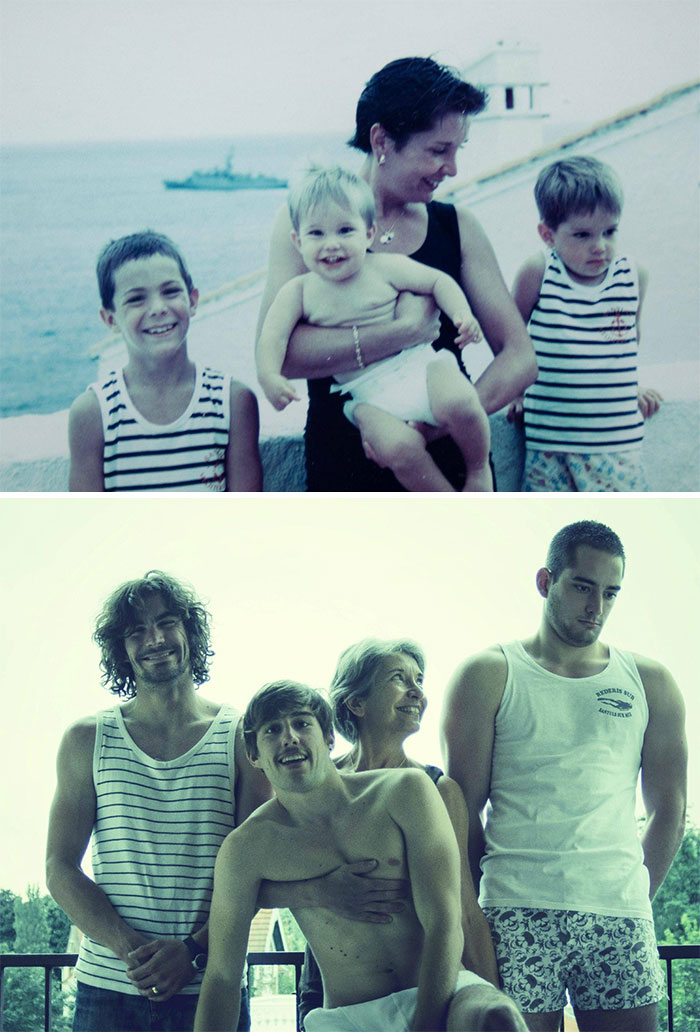 For Our Father's Birthday, We Tried To Take The Same Picture 20 Years Later. We Grew Up A Bit