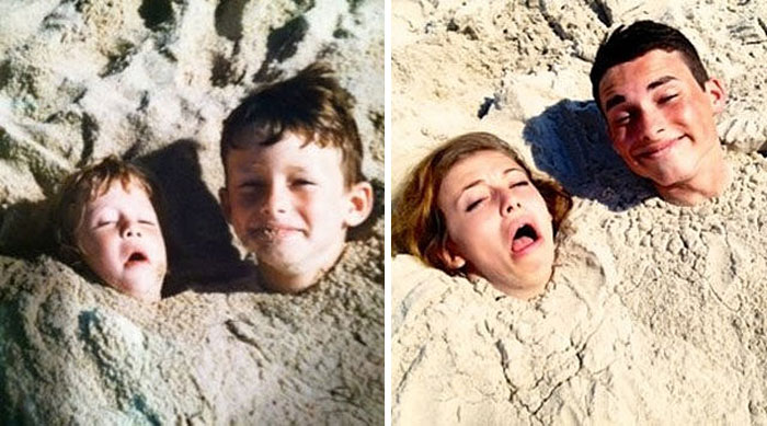 Brother And Sister Still Love Playing In The Sand
