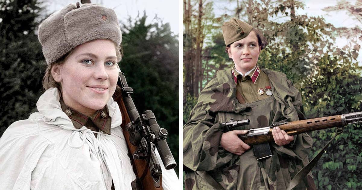 "Colourised Pics Of Russia's Female Snipers Who Terrorised Nazis, Including ""Lady Death"" With 309 Kills"