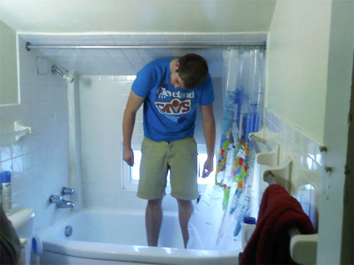 Me Standing In My Friend's Shower