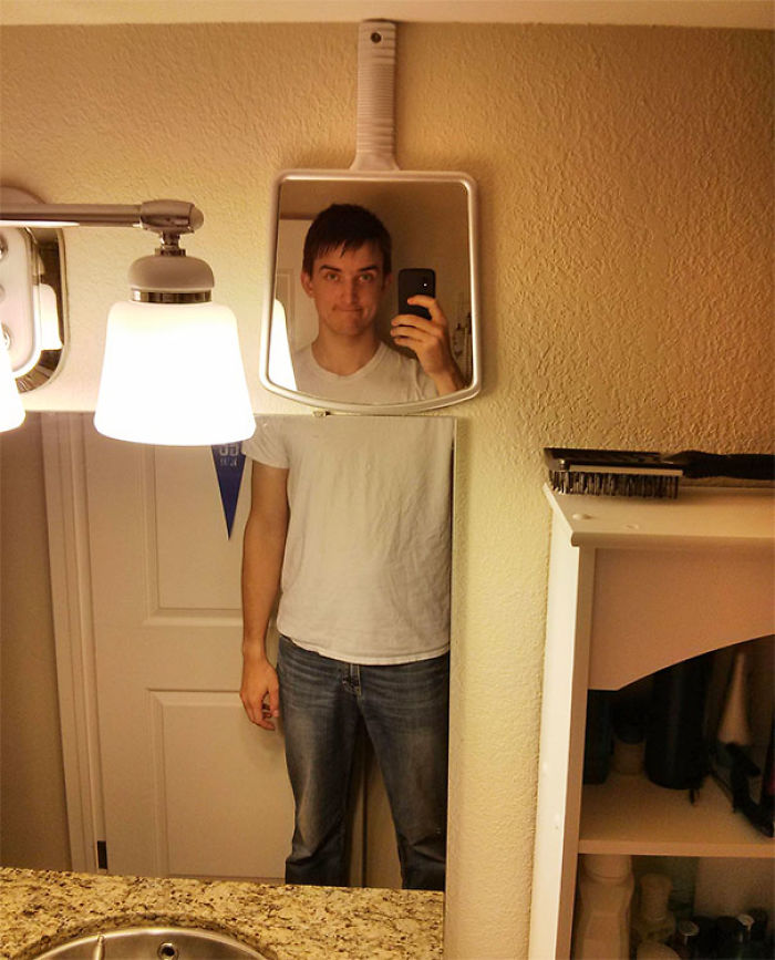 Tall Guy Problem Solved. Solution: Extra Mirror