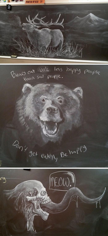 Este profesor hace increíbles dibujos con tiza para inspirar a sus alumnos