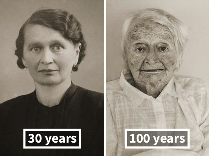 Anna Pochobradská, Around 30 Years Old, 100 Years Old