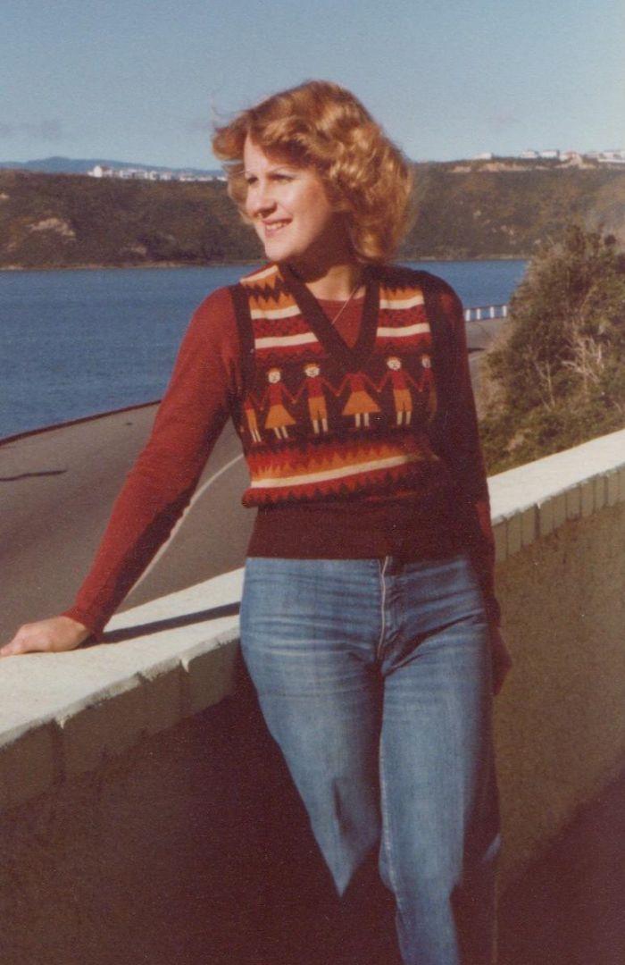 Mum In The 70s, Over Looking Wellington Harbour, New Zealand.