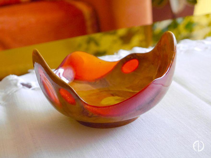 Resin Filled Alder Wood Bowl 'Strawberry'