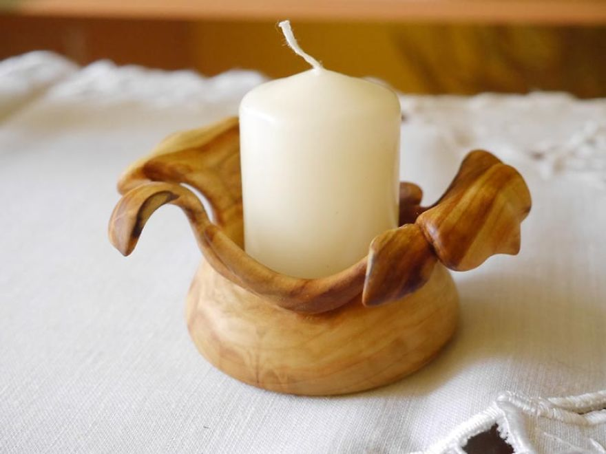 Small Hand Carved Candlestick