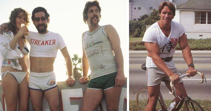 Estas fotos de los 70 con hombres en pantalones muy cortos muestra una moda olvidada