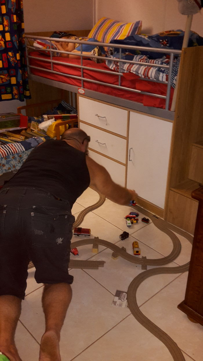 Husband Plays With Trains Whilst Our 5 Year Old Sleeps!