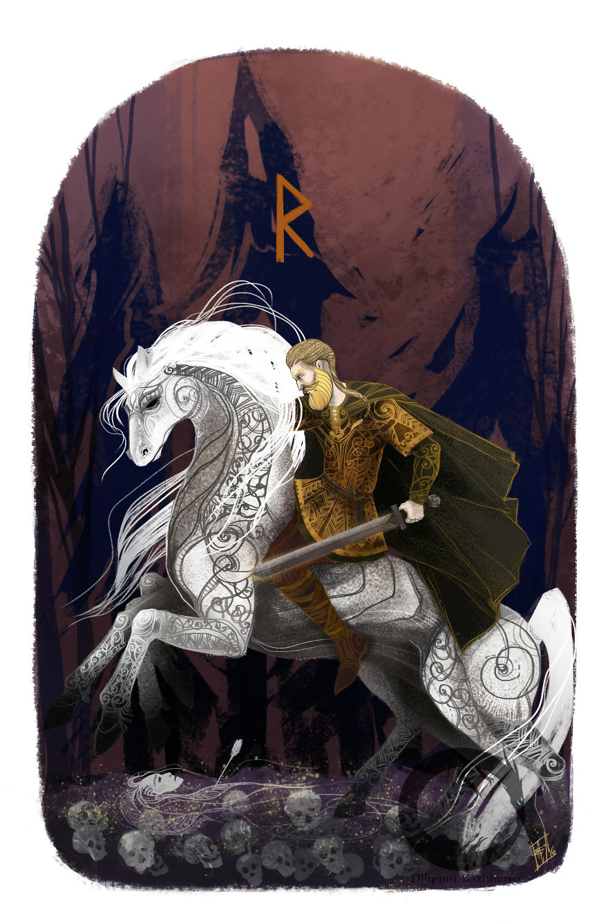 Raido-Traveling, Raiding. Riding Seems Easy To Every Warrior While He Is Indoors And Very Courageous To Him Who Traverses The High-Roads On The Back Of A Stout Horse