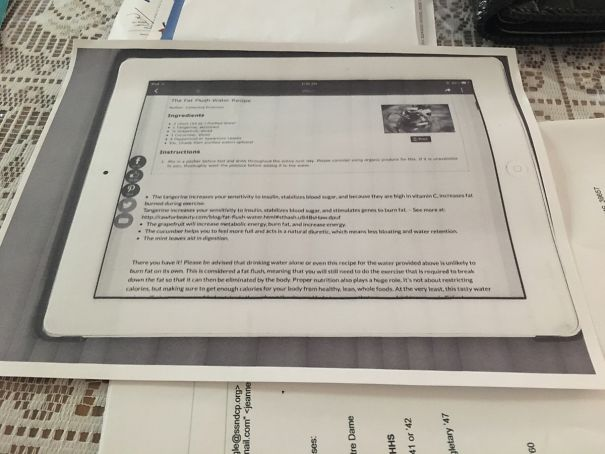 My Mom Photocopies Recipes Off Of Her iPad